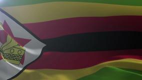 Flagga av Zimbabwe som vinkar på flaggstången i vinden, nationellt symbol av frihet royaltyfri illustrationer