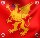 flagga 3D av det Ostergotland länet, Sverige Arkivbilder