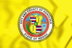 flagga 3D av Honolulu Hawaii, USA stock illustrationer