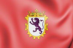 flagga 3D av Leon City, Spanien vektor illustrationer