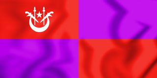 flagga 3D av Pasir Mas Kelantan, Malaysia stock illustrationer