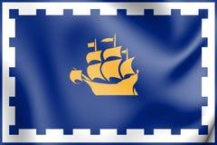 flagga 3D av Quebec City, Kanada vektor illustrationer