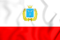 flagga 3D av Saratov Oblast, Ryssland Arkivbild