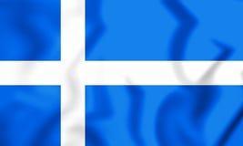 flagga 3D av Shetland, Skottland royaltyfri illustrationer