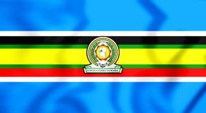 flagga för östlig afrikansk gemenskap 3D stock illustrationer