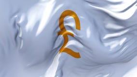 335 Flagga för brittiskt pund för UK som vinkar i fortlöpande sömlös öglasbakgrund för vind stock video