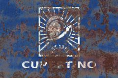 Flagga för Cupertino stadsrök, Kalifornien stat, Förenta staterna av f.m. royaltyfri foto