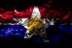 Flagga för Dallas stadsrök, Illinois tillstånd, Amerikas förenta stater vektor illustrationer
