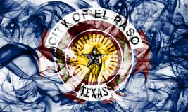 Flagga för El Paso stadsrök, Texas State, Amerikas förenta stater fotografering för bildbyråer