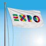 Flagga för expo 2015 royaltyfri illustrationer