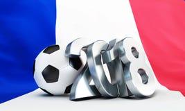 Flagga för fotboll 2018 av den Frankrike 3D illustrationen, tolkning 3D Royaltyfria Bilder