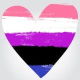 Flagga för genusfluiditetstolthet i en form av hjärta Royaltyfri Foto
