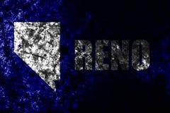 Flagga för grunge för Reno stad gammal, Nevada State, Amerikas förenta stater royaltyfri bild