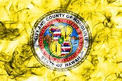 Flagga för Honolulu stadsrök, Hawaii stat, Amerikas förenta stater Royaltyfria Bilder