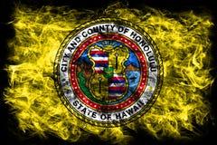 Flagga för Honolulu stadsrök, Hawaii stat, Amerikas förenta stater Arkivfoton
