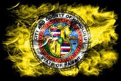 Flagga för Honolulu stadsrök, Hawaii stat, Amerikas förenta stater Arkivfoto