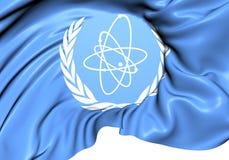 Flagga för internationell atomenergibyrå stock illustrationer