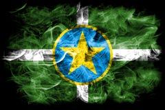 Flagga för Jackson stadsrök, Mississippi stat, Förenta staterna av Ame Royaltyfri Fotografi