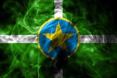 Flagga för Jackson stadsrök, Mississippi stat, Förenta staterna av Ame royaltyfri illustrationer