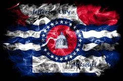 Flagga för Jefferson City stadsrök, Missouri stat, Amerikas förenta stater Royaltyfria Bilder