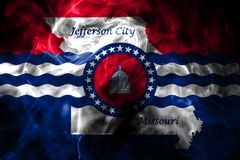 Flagga för Jefferson City stadsrök, Missouri stat, Förenta staterna av vektor illustrationer