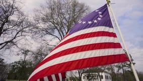 Flagga för 13 kolonier som vinkar i patriotism för fönsterultrarapidUSA historia lager videofilmer