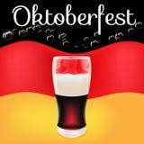 Flagga för mörkt öl för tryckfestival mest oktoberfest tysk royaltyfri illustrationer