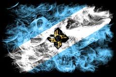 Flagga för Madison stadsrök, Wisconsin tillstånd, Förenta staterna av Ameri Royaltyfria Bilder