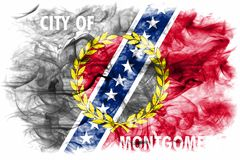 Flagga för Montgomery stadsrök, Alabama stat, Förenta staterna av Amer royaltyfri fotografi