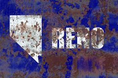 Flagga för Reno stadsrök, Nevada State, Amerikas förenta stater arkivfoton