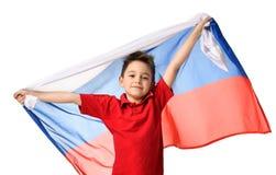 Flagga för ryss för håll för patriot för fansportpojke som nationell firar lyckligt le skratta kopieringsutrymme för fri text Royaltyfri Foto