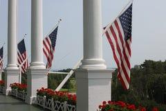 Flagga för storslagen hotellMackinac ö - USA Royaltyfria Bilder