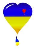 Flagga för Ukraina hjärtanacional Royaltyfria Bilder