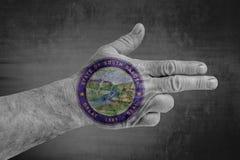 Flagga för USA-stat av den South Dakota skyddsremsan som målas på den manliga handen som ett vapen arkivfoton