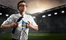 Flagga för visning för Argentina fotboll- eller fotbollsupporter arkivbilder