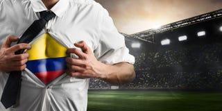 Flagga för visning för Colombia fotboll- eller fotbollsupporter Royaltyfri Bild