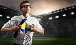 Flagga för visning för Colombia fotboll- eller fotbollsupporter Arkivfoton