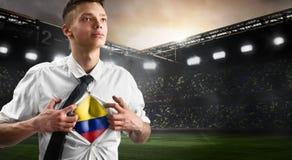 Flagga för visning för Colombia fotboll- eller fotbollsupporter Arkivbild
