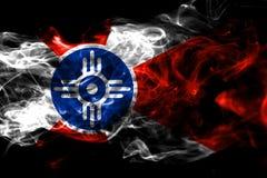 Flagga för Wichita stadsrök, Kansas tillstånd, Amerikas förenta stater stock illustrationer