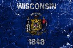 Flagga för Wisconsin tillståndsgrunge, Amerikas förenta stater royaltyfria bilder