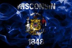 Flagga för Wisconsin tillståndsrök, Amerikas förenta stater arkivfoton