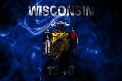 Flagga för Wisconsin tillståndsrök, Amerikas förenta stater arkivbilder
