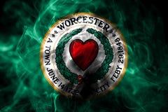 Flagga för Worcester stadsrök, Massachusetts tillstånd, Förenta staterna av royaltyfri illustrationer