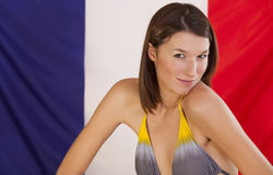 flagga france över kvinna Royaltyfria Bilder