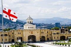 flagga georgian tbilisi Royaltyfri Bild