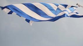 flagga greece långsam rörelse stock video