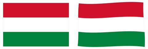 flagga hungary Enkel och vinkande litet version stock illustrationer