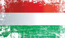 flagga hungary Rynkiga smutsiga fläckar stock illustrationer