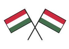 flagga hungary Stylization av det nationella banret Enkel vektorillustration med två flaggor vektor illustrationer