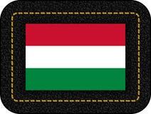flagga hungary Vektorsymbol på den svarta läderbakgrunden royaltyfri illustrationer